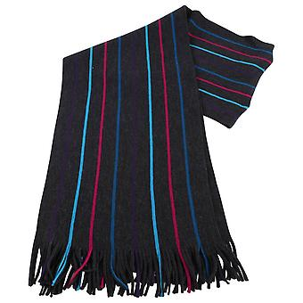 Bassin and Brown Buckle Striped Wool Scarf  - Charcoal/Turquoise