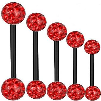 Piercing barra titanio negro 1, 6 mm, múltiples bolas de cristal rojo | 6 - 40 mm