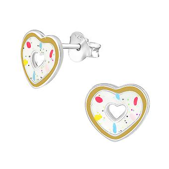 Heart Doughnut - 925 Sterling Silver Colourful Ear Studs - W36943X