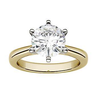 Moissanite por Charles & Colvard 8,0 mm ronda anillo de compromiso solitario de 6 puntas, 1.9cttw rocío