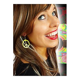 Bijoux et couronnes de boucles d'oreilles Peace jaune fluorescent