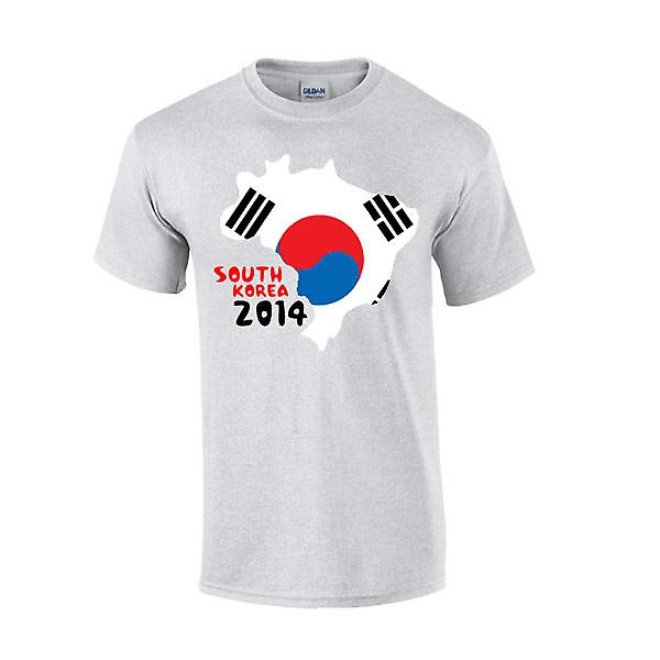 Südkorea 2014 Country Flag-T-Shirt (grau)