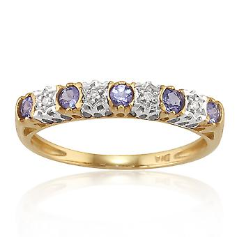 9ct Yellow Gold 0.23ct Tanzanite & 2pt Diamond Half Eternity Band Ring