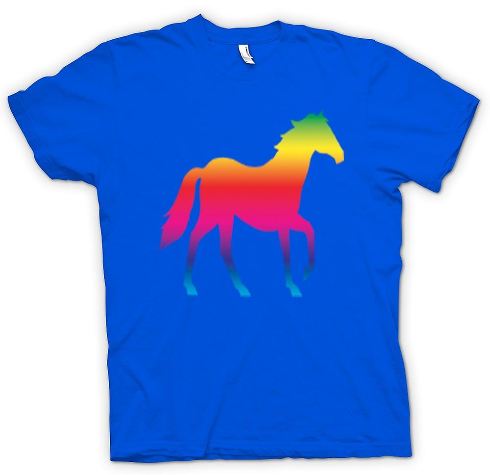Mens t-shirt-Rainbow Design cavallo Canter psichedelico