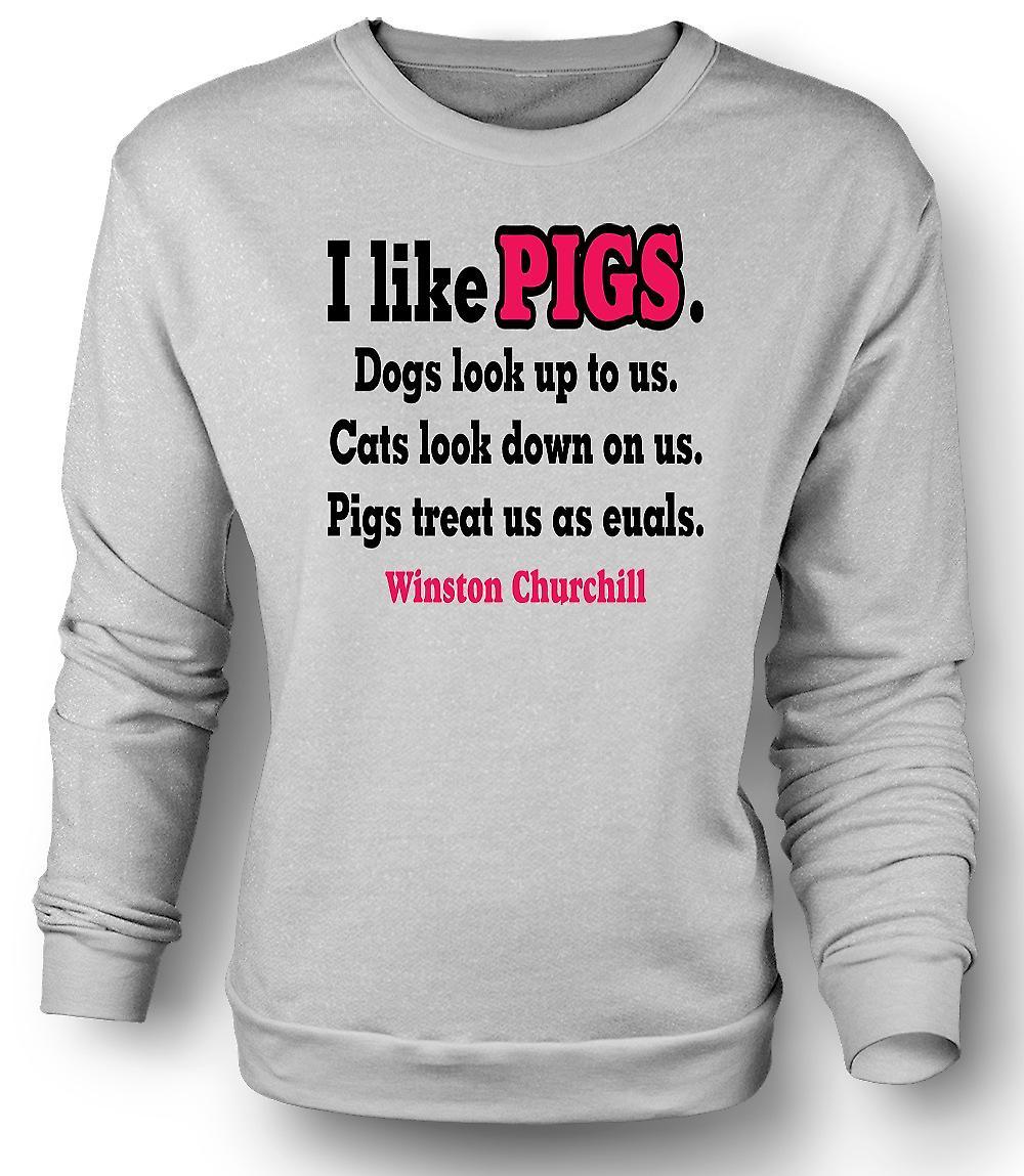 Mens Sweatshirt jeg som griser hunder ser opp til oss katter ser ned på oss