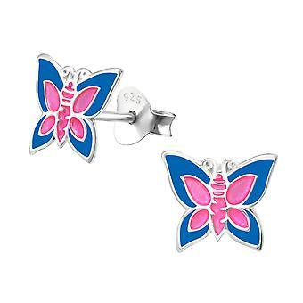 Butterfly - 925 Sterling Silver Colourful Ear Studs - W4623X