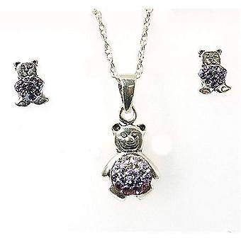 TOC Girls Sterling Silver Purple Crystal Teddy Bear Earrings & Pendant Set