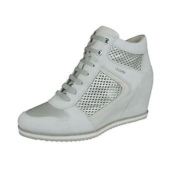 Womens Geox Trainers D Illusion B Suede and Leather Wedge Boots - Off White
