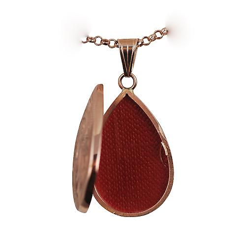 9ct Rose Gold 30x20mm engraved teardrop Locket with belcher Chain 16 inches Only Suitable for Children