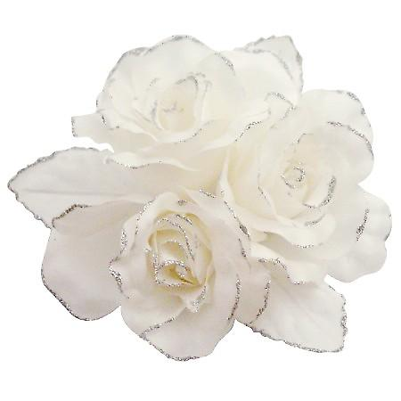 Pure White Rose Satin Handmade Flower Brooch For Fashion Wedding Dress