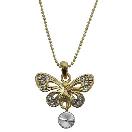 Butterfly Gold Pendant w/ Cubic Zircon & CZ Stud Gold Chain Necklace