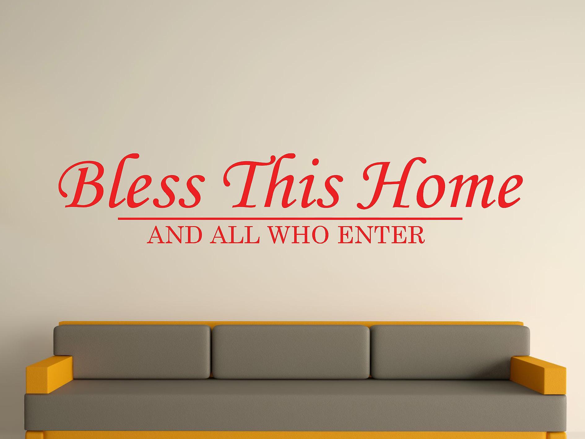 Välsigna detta hem vägg konst klistermärke - tomat röd