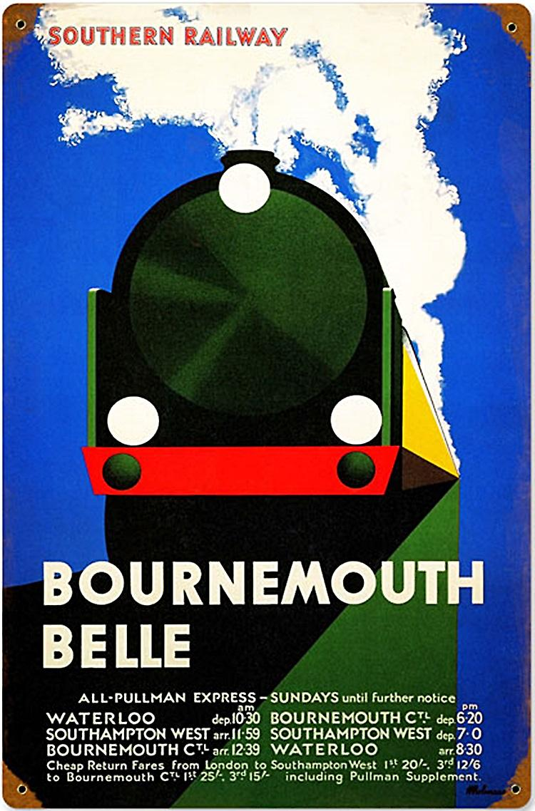 Bournemouth Belle Southern Railway rusted metal sign   (pst 1812)