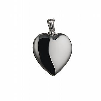 Silver 30x28mm handmade plain Heart shaped Memorial Locket