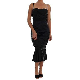Dolce & Gabbana Black Mermaid Ruched Gown Dress -- DR12774000