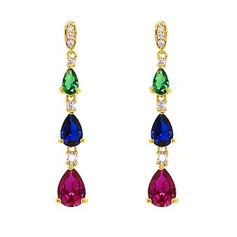 Ah! Jewellery Womens Tri Colour Drop Crystal from Swarovski Earrings