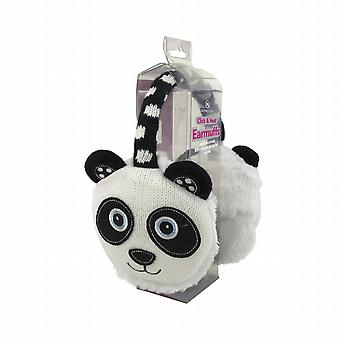 Cozy Ears Click & Heat Knitted Animal Ear Muffs: Panda New