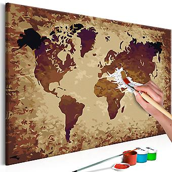 DIY canvas painting - World Map (Brown Colours)