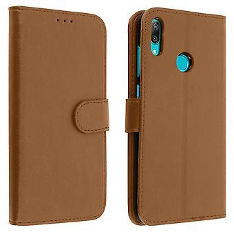 Flip portefeuille cas, couverture magnétique avec stand pour Huawei Y7 2019 - Brown