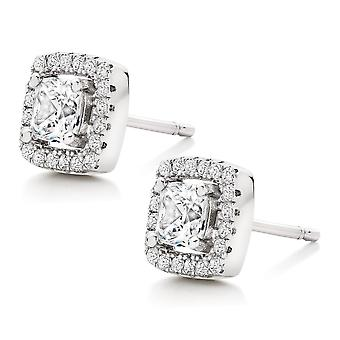 18K White-Gold Plated Halo Stud Square Earrings