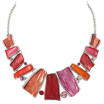 Eternal Collection Panama Red Multi Enamel Silver Tone Statement Necklace