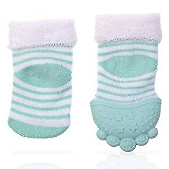 Baby Accessories - Nuby - Soothing Teether Sock Aqua Stripes New 80338