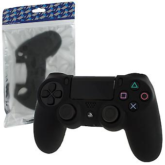 Soft silicone rubber skin grip cover for sony ps4 controller with ribbed handle - black