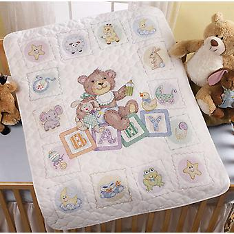 Baby Blocks Crib Cover Stamped Cross Stitch Kit 34