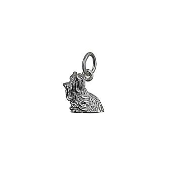 Silver 10x14mm Yorkshire Terrier Pendant or Charm