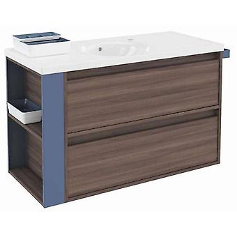 Bath+ Cabinet 2 drawers with porcelain sink Fresno-Blue 100cm