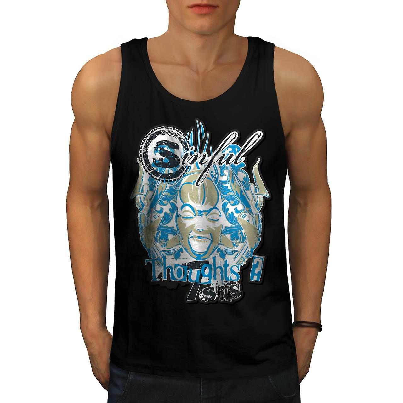 Sinful Thoughts Vintage Crazy Mind Men Black Tank Top | Wellcoda