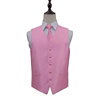 Solid Check Light Pink Wedding Waistcoat & Tie Set