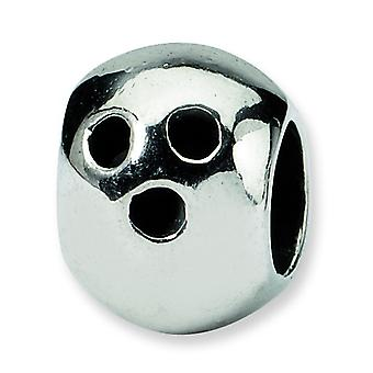Sterling Silver Polished Antique finish Reflections Bowling Ball Bead Charm