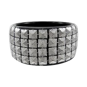 1 1/2 Inch Wide Silvertone Pyramid Studded Lucite Bangle Bracelet