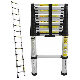 Charles Bentley 3.8M Telescopic Extendable Ladder - Soft Close Anti Pinch Finger Protection. UK Supplier / 2 year Warranty