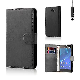 Book PU leather case cover for Sony Xperia M2 + stylus - Black
