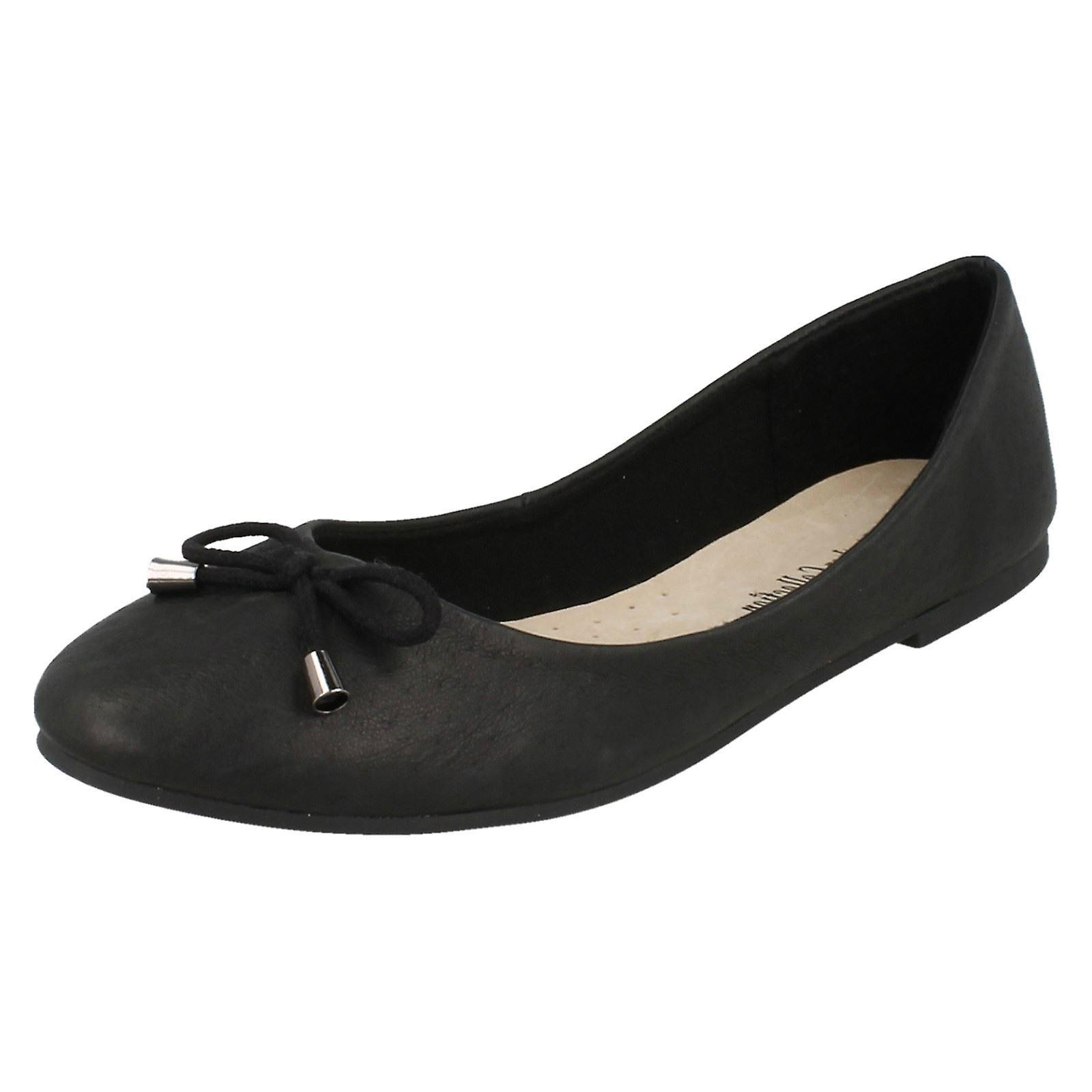 Ladies Leather Collection Bow Trim Vamp Ballerinas F80275