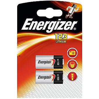 Energizer CR123A 3v de litio de la foto (Twin Pack)