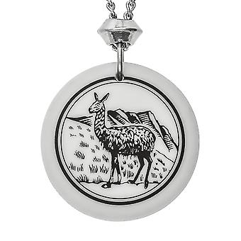 Handmade Llama Totem Round Shaped Porcelain Pendant ~ 22 inch Chain