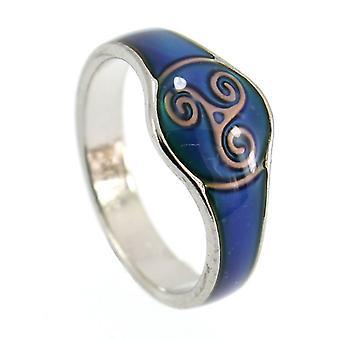 Fine Glass Enamelled Celtic Triskele Colour Change Mood Ring