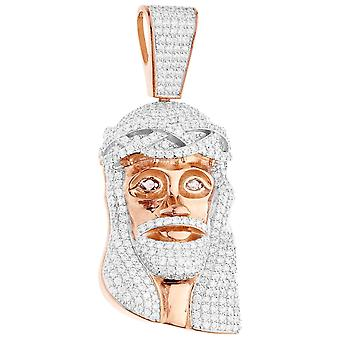 Premium Bling - 925 sterling silver Jesus head pendant rose
