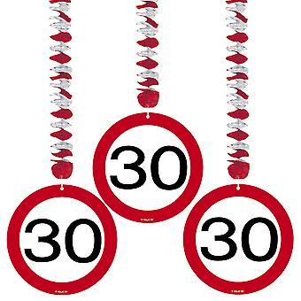 Spiral Garland 3 St. traffic sign number 30 birthday rotor spirals