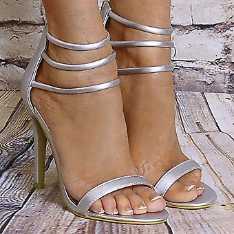 Shoe Closet Silver Ankle Strap Heels - Ladies Silver Metallic Ed53 Strappy Sandals Peep Toes High Heels