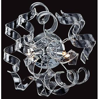 Firstlight Modern Chrome Clear Swirls Wall Light