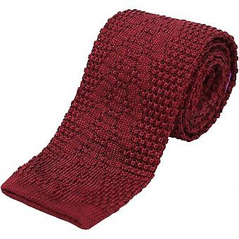 David Van Hagen Plain Knitted Silk Tie - Burgundy