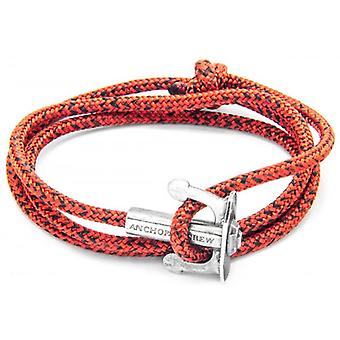 Anchor and Crew Union Silver and Rope Bracelet - Red Noir