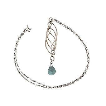 Ladies necklace aquamarine quartz solid 925 Silver Blue Mobile trailer