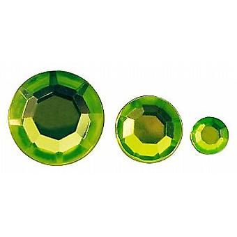 310 Round Shaped Acrylic Rhinestones for Crafts - Lime Green