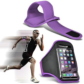 ONX3 (Purple) Adjustable Sweatproof/Water Resistent Sports Fitness Running Cycling Gym Armband Phone Case For Blackberry Keyone