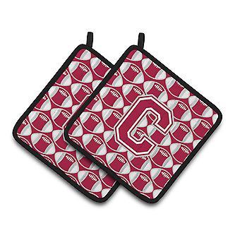 Bokstaven C fotball Crimson, grå og hvit par av grytekluter